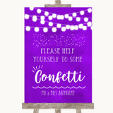 Purple Watercolour Lights Take Some Confetti Customised Wedding Sign