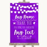 Purple Watercolour Lights Thank You Bridesmaid Page Boy Best Man Wedding Sign