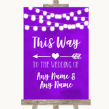 Purple Watercolour Lights This Way Arrow Left Customised Wedding Sign