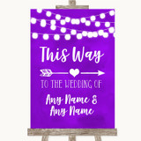 Purple Watercolour Lights This Way Arrow Right Customised Wedding Sign