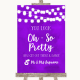 Purple Watercolour Lights Toilet Get Out & Dance Customised Wedding Sign