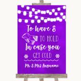 Purple Watercolour Lights Wedding Blanket Scarf Customised Wedding Sign