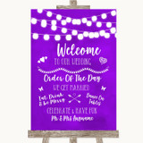 Purple Watercolour Lights Welcome Order Of The Day Customised Wedding Sign