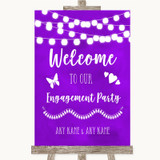 Purple Watercolour Lights Welcome To Our Engagement Party Wedding Sign