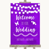 Purple Watercolour Lights Welcome To Our Wedding Customised Wedding Sign