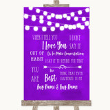 Purple Watercolour Lights When I Tell You I Love You Customised Wedding Sign