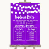 Purple Watercolour Lights Who's Who Leading Roles Customised Wedding Sign