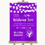 Purple Watercolour Lights Wishing Tree Customised Wedding Sign