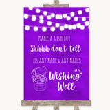 Purple Watercolour Lights Wishing Well Message Customised Wedding Sign