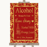 Red & Gold Alcohol Bar Love Story Customised Wedding Sign