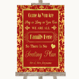 Red & Gold All Family No Seating Plan Customised Wedding Sign