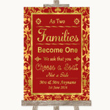 Red & Gold As Families Become One Seating Plan Customised Wedding Sign