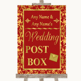 Red & Gold Card Post Box Customised Wedding Sign
