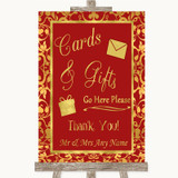 Red & Gold Cards & Gifts Table Customised Wedding Sign