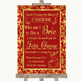 Red & Gold Cheese Board Song Customised Wedding Sign