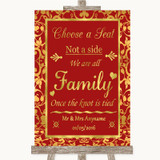 Red & Gold Choose A Seat We Are All Family Customised Wedding Sign