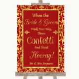 Red & Gold Confetti Customised Wedding Sign