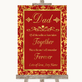 Red & Gold Dad Walk Down The Aisle Customised Wedding Sign
