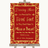Red & Gold Dancing Shoes Flip-Flop Tired Feet Customised Wedding Sign