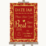 Red & Gold Date Jar Guestbook Customised Wedding Sign