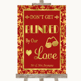 Red & Gold Don't Be Blinded Sunglasses Customised Wedding Sign