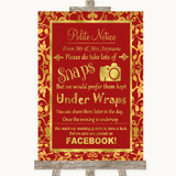 Red & Gold Don't Post Photos Facebook Customised Wedding Sign