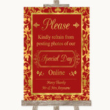 Red & Gold Don't Post Photos Online Social Media Customised Wedding Sign