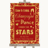 Red & Gold Drink Champagne Dance Stars Customised Wedding Sign