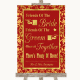 Red & Gold Friends Of The Bride Groom Seating Customised Wedding Sign
