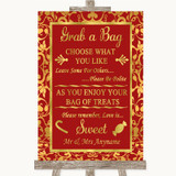 Red & Gold Grab A Bag Candy Buffet Cart Sweets Customised Wedding Sign