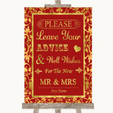 Red & Gold Guestbook Advice & Wishes Mr & Mrs Customised Wedding Sign