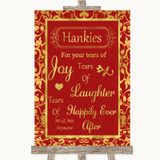 Red & Gold Hankies And Tissues Customised Wedding Sign