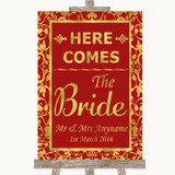Red & Gold Here Comes Bride Aisle Sign Customised Wedding Sign