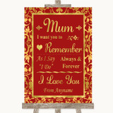 Red & Gold I Love You Message For Mum Customised Wedding Sign