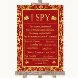 Red & Gold I Spy Disposable Camera Customised Wedding Sign