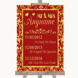 Red & Gold Important Special Dates Customised Wedding Sign