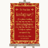 Red & Gold Instagram Photo Sharing Customised Wedding Sign