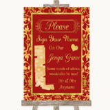 Red & Gold Jenga Guest Book Customised Wedding Sign