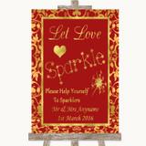 Red & Gold Let Love Sparkle Sparkler Send Off Customised Wedding Sign