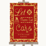 Red & Gold Let Them Eat Cake Customised Wedding Sign