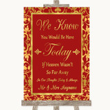 Red & Gold Loved Ones In Heaven Customised Wedding Sign