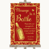 Red & Gold Message In A Bottle Customised Wedding Sign