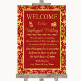 Red & Gold No Phone Camera Unplugged Customised Wedding Sign