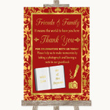 Red & Gold Photo Guestbook Friends & Family Customised Wedding Sign