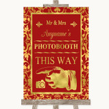 Red & Gold Photobooth This Way Left Customised Wedding Sign
