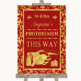 Red & Gold Photobooth This Way Right Customised Wedding Sign