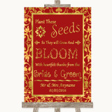 Red & Gold Plant Seeds Favours Customised Wedding Sign