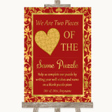 Red & Gold Puzzle Piece Guest Book Customised Wedding Sign