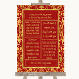 Red & Gold Romantic Vows Customised Wedding Sign