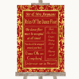 Red & Gold Rules Of The Dance Floor Customised Wedding Sign
